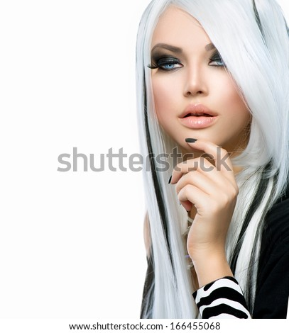 Beauty Fashion Girl black and white style. Long White Hair with Black Stripes. Smoky Eyes Makeup and Black short Nails. Sexy Woman Portrait - stock photo