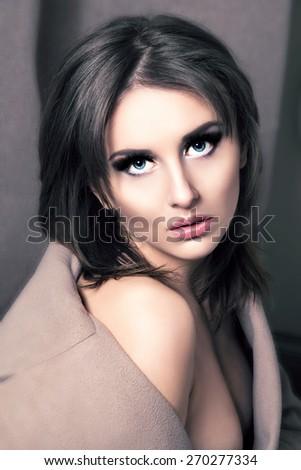 Beauty Fashion Glamorous Model Girl Portrait. Vintage Style. - stock photo