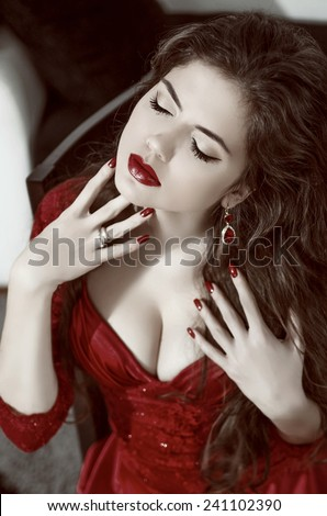 Beauty Fashion Glamorous Model Girl Portrait. Vintage Style Mysterious Woman Wearing burgundy dress. Temptation. - stock photo