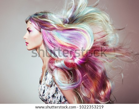 Beauty Fashion Model Girl Colorful Dyed Stock Photo 1022353219 ...