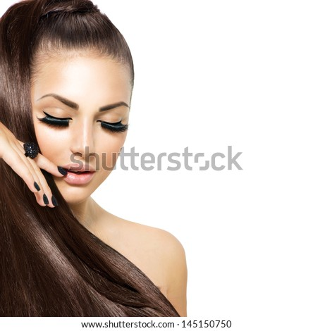 Beauty Fashion Model Girl with Long Healthy Hair, Long Lushes. Fashion Trendy Caviar Black Manicure. Nail Art - stock photo