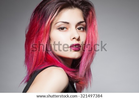 Beauty Fashion Model Girl with Pink Hair. Colourful Hair. - stock photo