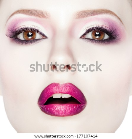 Beauty Fashion Model Girl with pink make-up, close-up studio shoot - stock photo