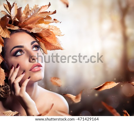 Beauty Fashion Model In Fall Forest