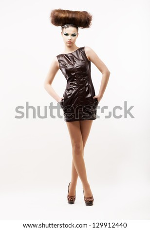 Beauty & Fashion. Subculture. Stylish Eccentric Woman in Black Dress. Fete