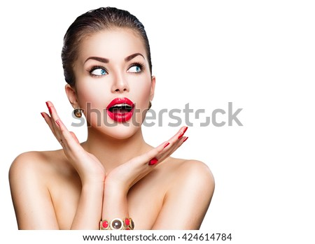 Beauty Fashion surprised Woman portrait. Beautiful model girl with perfect make up exited, screaming and open and mouth. Headshot. Emotions. Isolated on a white background - stock photo