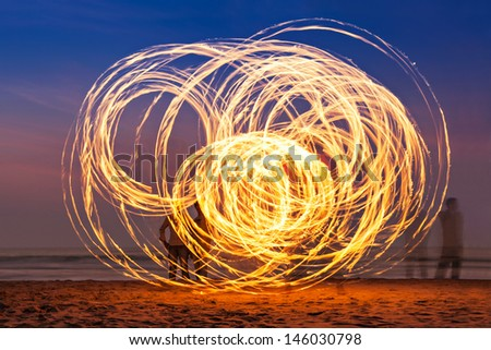 Beauty fire show at the beach, Goa - stock photo