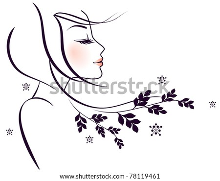 Beauty floral woman - stock photo