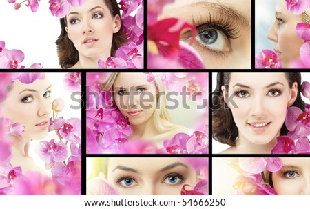 beauty flower woman. ( lot images collage ) - stock photo