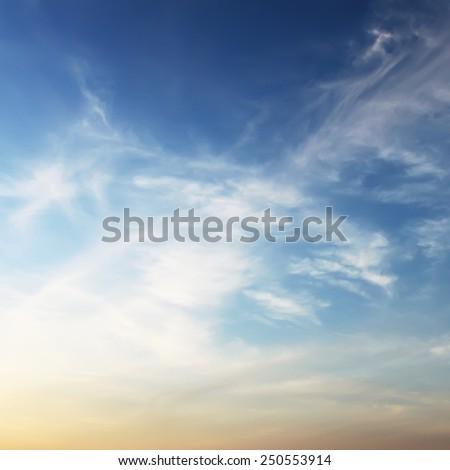 Beauty fluffy sky in sunset - stock photo