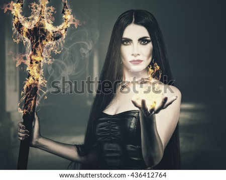 Beauty from the Hell, spooky female portrait, halloween theme - stock photo
