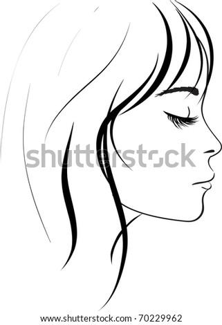 beauty girl face. Art work illustration - stock photo