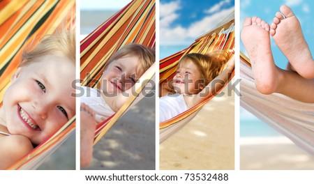 beauty girl in hammock on the sea beach - stock photo