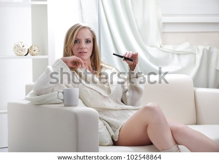 beauty girl indoors with e-cigarette - stock photo