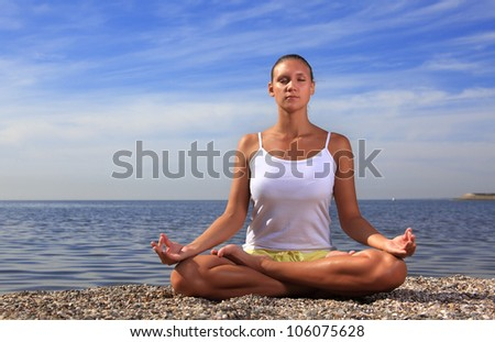 beauty girl on beach - stock photo