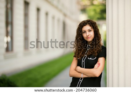 beauty girl on street - stock photo