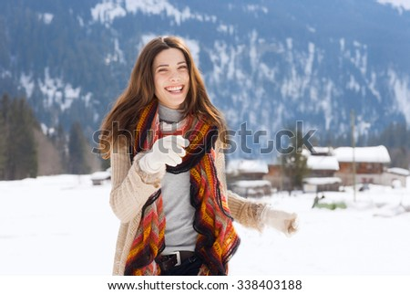 beauty girl on the snow outdoor - stock photo