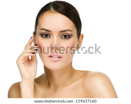 Beauty girl portrait of attractive  caucasian smiling woman brunette, isolated on white, studio shot , face,  head and shoulders, looking at camera, eyes, makeup, hand; nails - stock photo