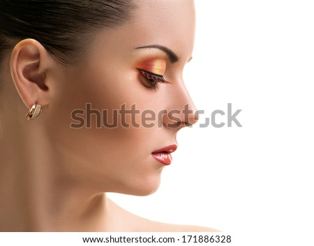 Beauty Girl. Portrait of Beautiful Young Woman half face. Isolated on White Background. Fresh Clean Skin