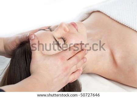 beauty girl spa on white background - stock photo