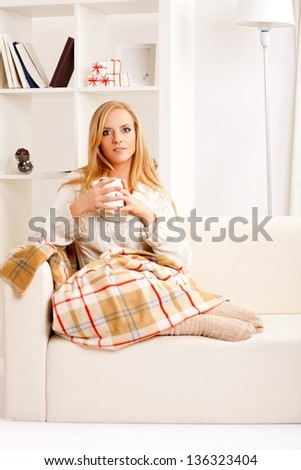 beauty girl with coffee cup - stock photo