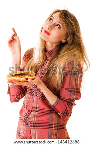 beauty girl with fast food isolated on white - stock photo