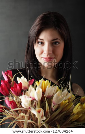 beauty girl with flowes - stock photo