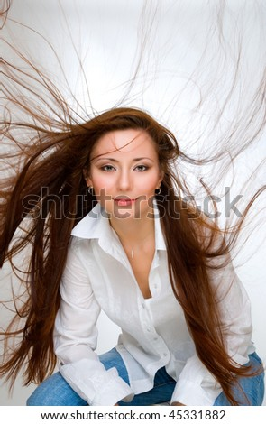 beauty girl with flying haircurl