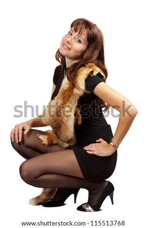 beauty girl with fox fur over white background - stock photo