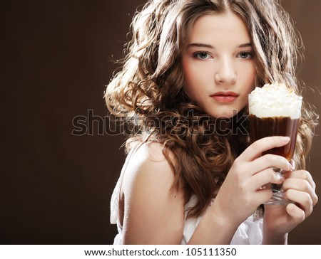 beauty girl with glass of coffee with cream - stock photo