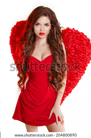 Beauty Glamorous angel girl with red wings and wavy long healthy hair isolated on white background. Valentine woman model. - stock photo