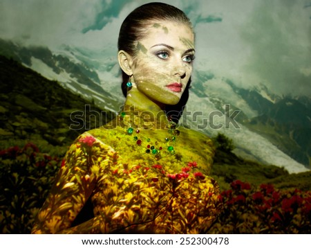 Beauty glamour portrait woman. Fashion concept photo. Art installation. Jewelry and makeup. Girl posing - stock photo