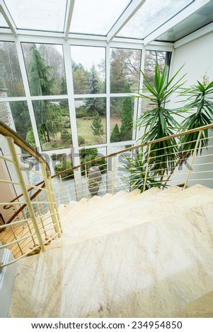 Beauty green garden - view from the window - stock photo