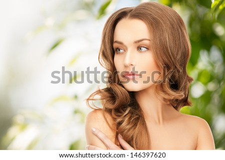 beauty, hair and eco cosmetology - beautiful woman with long hair - stock photo