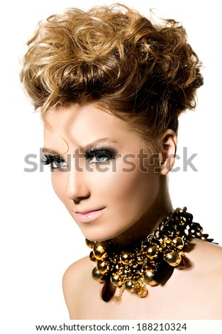Beauty Hairstyle. Glamour lady portrait. Beautiful model girl with perfect fashion makeup and hair style. Hairdo. Trendy accessories. Isolated on a white background - stock photo