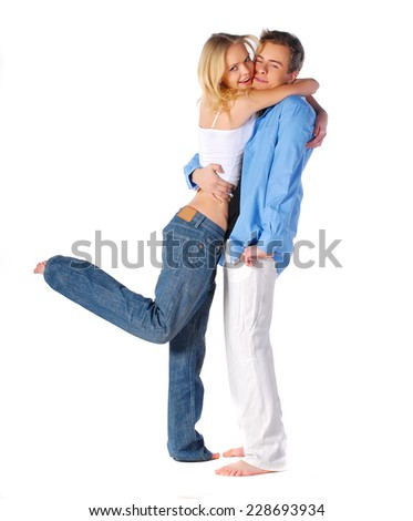Beauty happy couple in love - stock photo