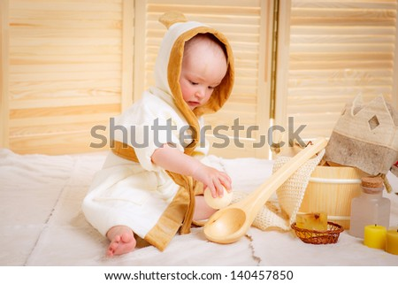 Beauty, healthcare.Boy relaxing in the sauna.
