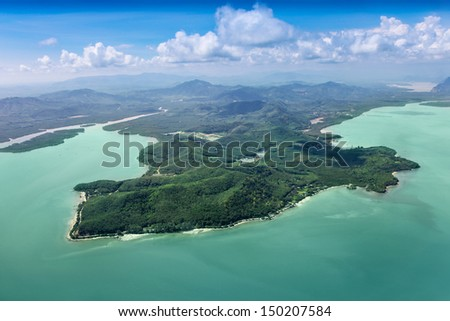 Beauty islands in the sea, view from the plane - stock photo