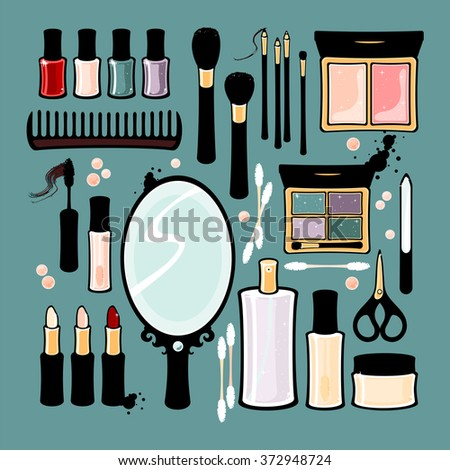 Beauty items (raster version) - stock photo