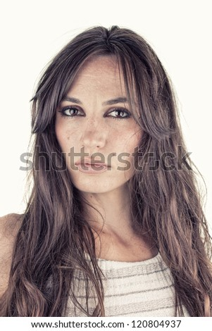 Beauty lady portrait with a lot details with white background, fashion, natural beauty concept