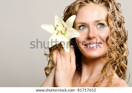 Beauty lady with lily flower