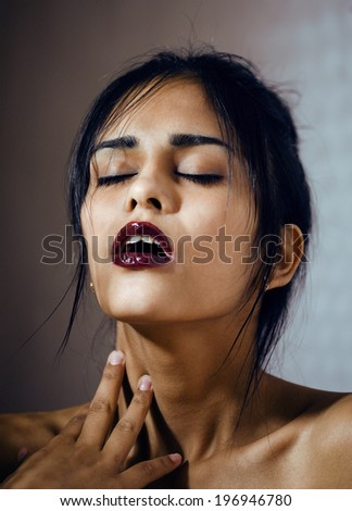 beauty latin young woman in depression, hopelessness look - stock photo