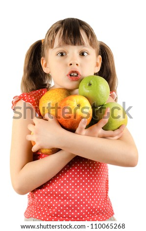 beauty little girl, hold many apple and wonder look, on white background, isolated - stock photo