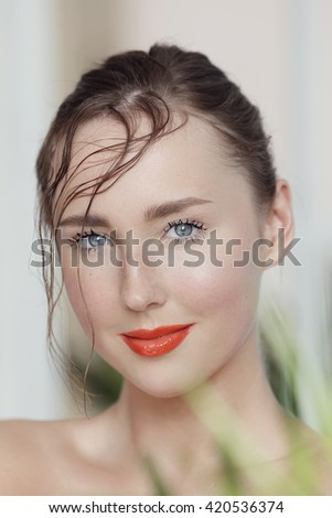 Beauty. Lovely woman with red lipstick