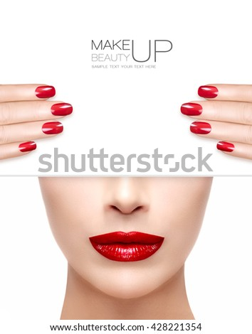 Beauty Makeup and Nail Art Concept. Beautiful fashion model woman with trendy red lipstick to match her manicured nails, half face with a white card template. High fashion portrait isolated on white - stock photo