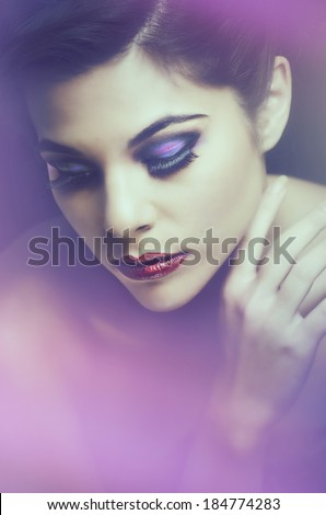 Beauty makeup fashion photo of beautiful young woman