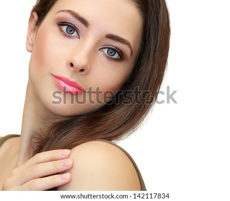 Beauty makeup female face looking. Closeup isolated portrait on white background - stock photo
