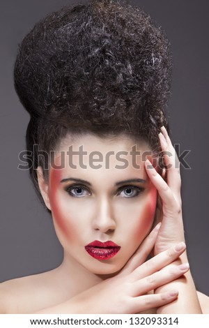 Beauty makeup with red glitter lips - stock photo