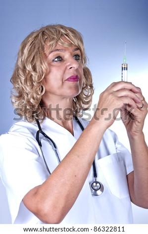 beauty medical nurse with syringe - stock photo