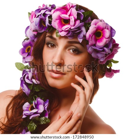 beauty model beautiful woman face close-up , wreath flowers her head isolated large
